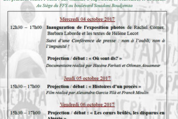 Collectif des Familles de disparus en Algérie — Les journées contre l'oubli : une semaine d'exposition, de rencontre et de débats