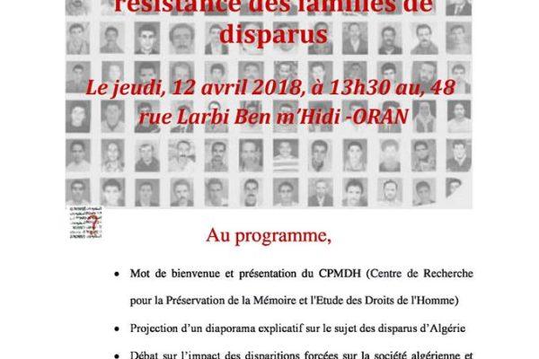 Collectif des Familles de disparus en Algérie — Hommage à la résistance des familles de disparu(e)s à Oran
