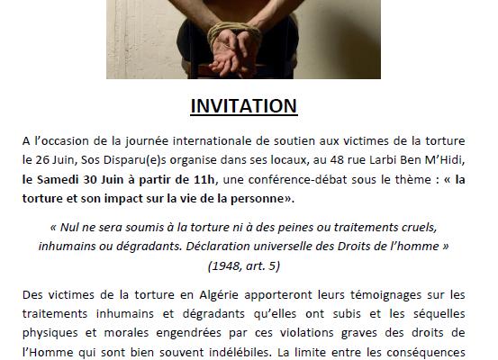Collectif des Familles de disparus en Algérie — Le Samedi 30 Juin à partir de 13h30, SOS Disparues Oran vous invite à une conférence-débat