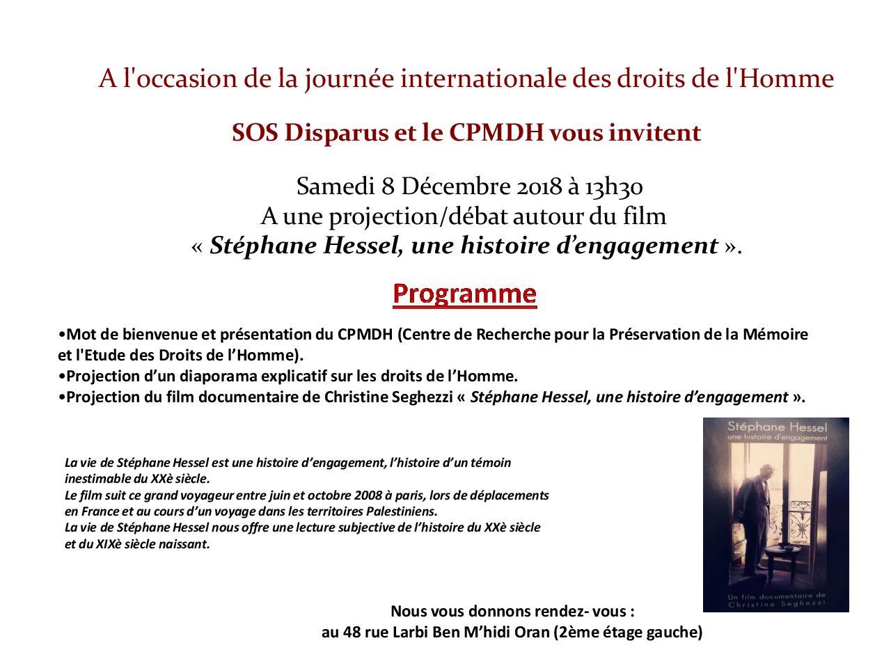 Collectif des Familles de disparus en Algérie — Projection débat autour du film «Stéphane Hessel, une histoire d'engagement»