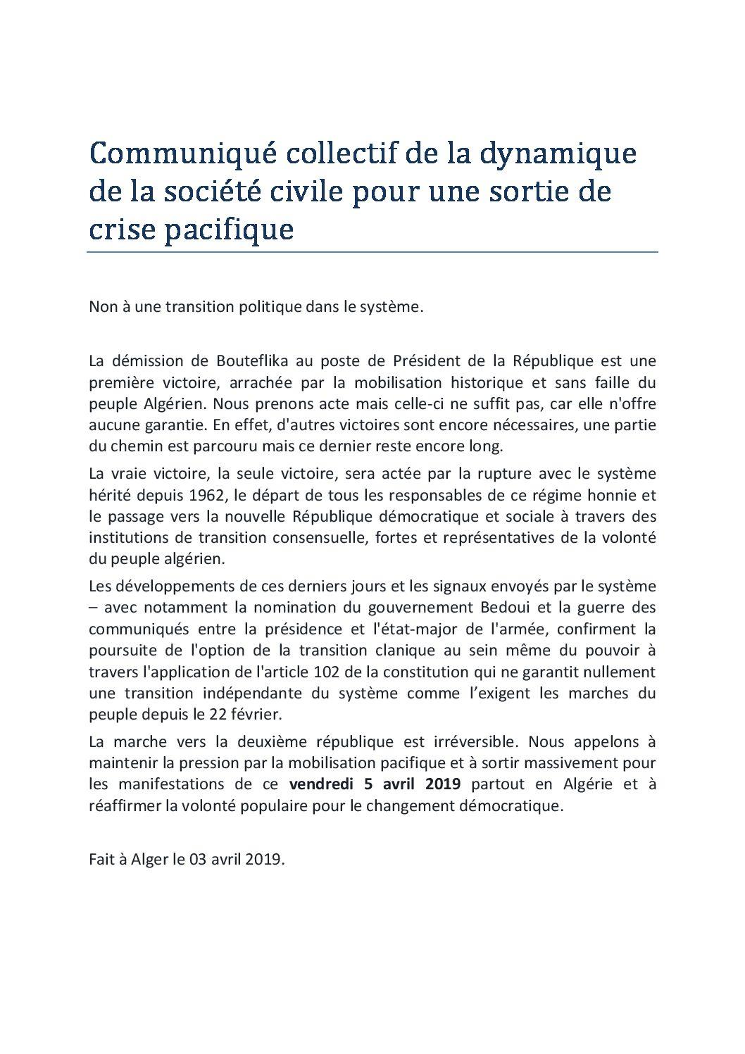 Collectif des Familles de disparus en Algérie — Communiqué du collectif de la dynamique de la société civile pour une sortie de crise pacifique
