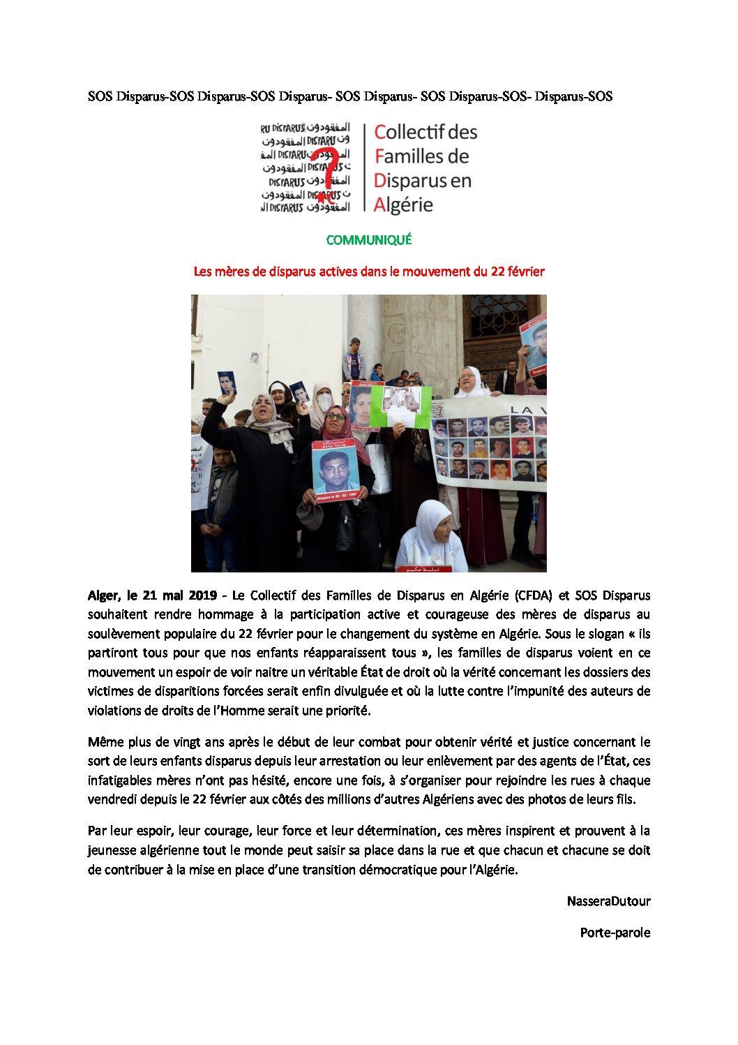 Collectif des Familles de disparus en Algérie — Communiqué : les mères de disparus actives dans le mouvement du 22 février