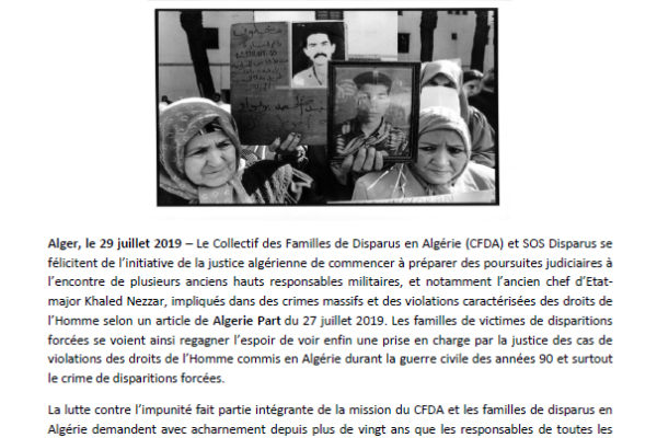 Collectif des Familles de disparus en Algérie — Communiqué : la justice algérienne va t-elle enfin ouvrir les dossiers des années 90 ?