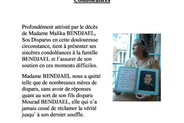 Collectif des Familles de disparus en Algérie — Hommage à Madame Bendjael, mère de disparu