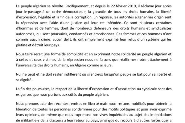 Collectif des Familles de disparus en Algérie — Déclaration conjointe sur l'Algérie